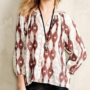 Line & Dot Silk Socompa Blouse Embroidered Peasant